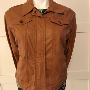 Joujou Faux Leather Jacket - Saddle